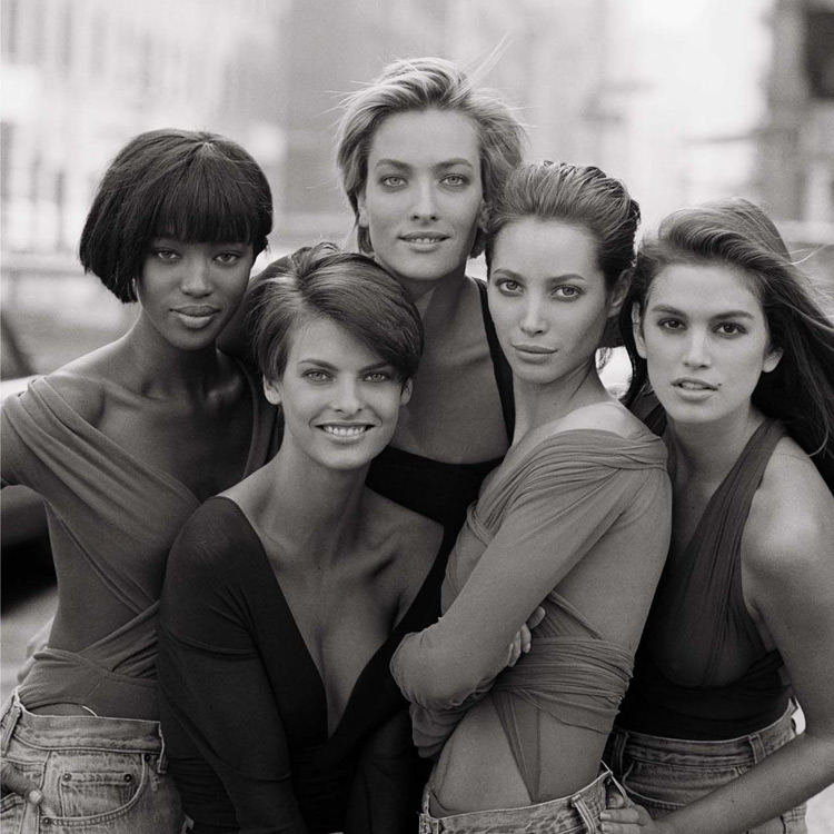 Cindy Crawford, Christy Turlington, Tatjana Patitz, Linda Evangelista, Naomi Campbell, fot. Peter Lindbergh, 1990