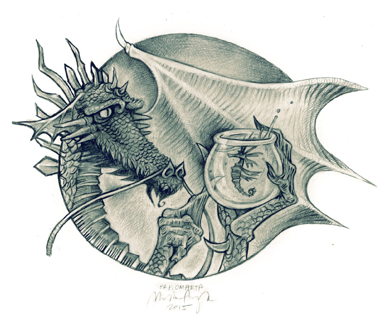 Dragon and his seahorse, rys. Marta Aszyk