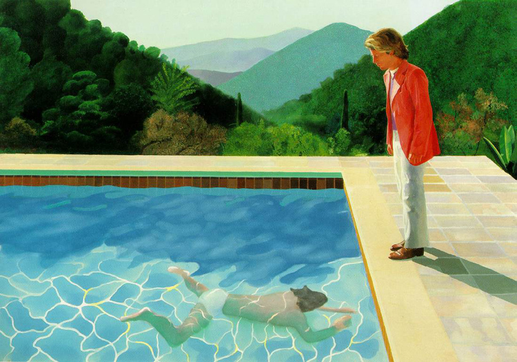 Pool with two figures, David Hockney