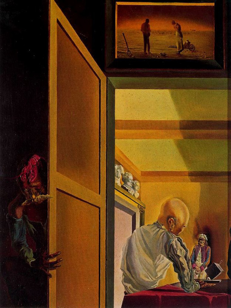 Gala and the Angelus of Millet Preceding the Imminent Arrival of the Conical Anamorphoses, 1933