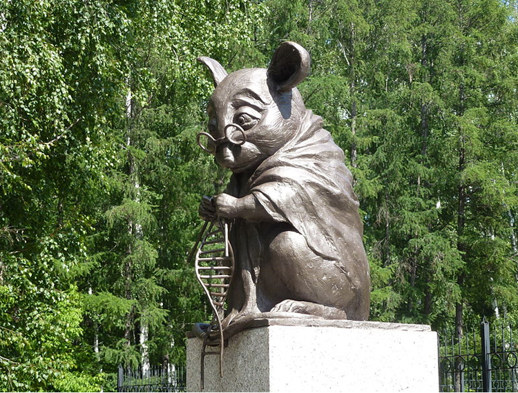 Monument to lab mouse in Novosibirsk, Russia
