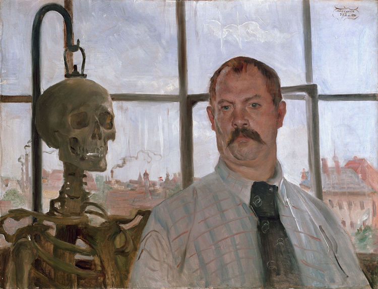 Self-portrait with Skeleton, Lovis Corinth, 1896, Public Domain